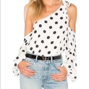 NWT Lovers + Friends Rachel polka dot blouse XS